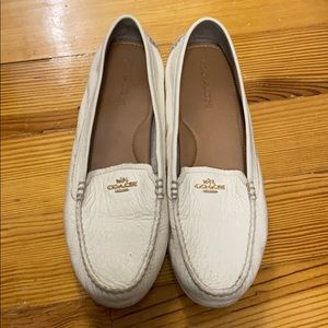 Coach off-white and gold pebble leather loafers